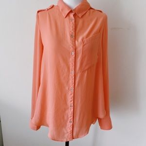 dynamite Size Medium Pastel Pink Long sleeves Casual button down Blouse